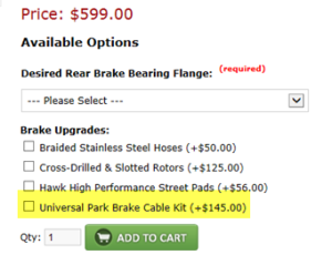 universal parking brake kit as check out option